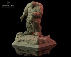 Alien Lab Miniatures OA001 Ogre Head Hunter 28mm - Ogr